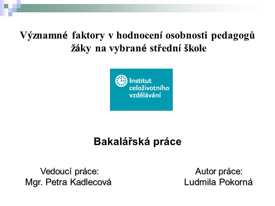 Bakalářská práce Vedoucí práce: Autor práce: Mgr. Petra Kadlecová Ludmila Pokorná Mgr.