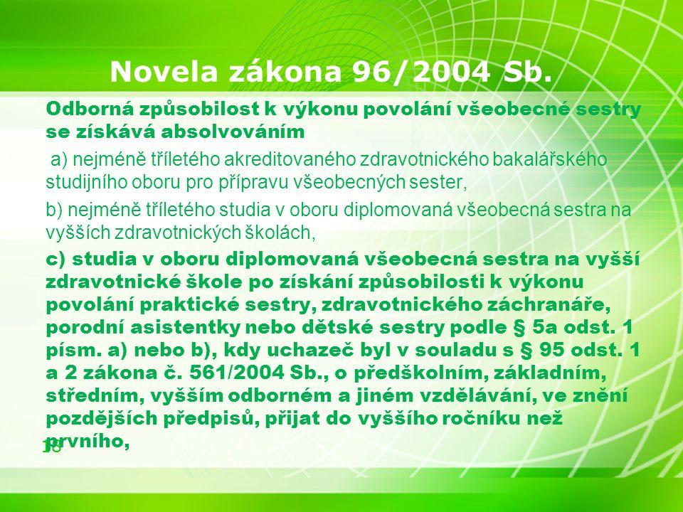 18 Novela zákona 96/2004 Sb.