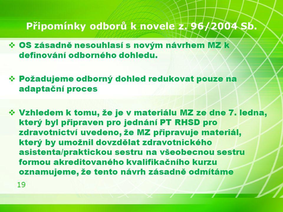 19 Připomínky odborů k novele z. 96/2004 Sb.