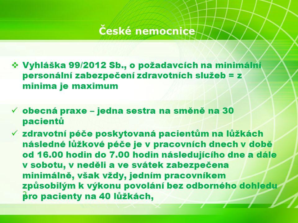 2 České nemocnice  Vyhláška 99/2012 Sb., o požadavcích na minimální personální zabezpečení zdravotních služeb = z minima je maximum obecná praxe – jedna sestra na směně na 30 pacientů zdravotní péče poskytovaná pacientům na lůžkách následné lůžkové péče je v pracovních dnech v době od 16.00 hodin do 7.00 hodin následujícího dne a dále v sobotu, v neděli a ve svátek zabezpečena minimálně, však vždy, jedním pracovníkem způsobilým k výkonu povolání bez odborného dohledu pro pacienty na 40 lůžkách,