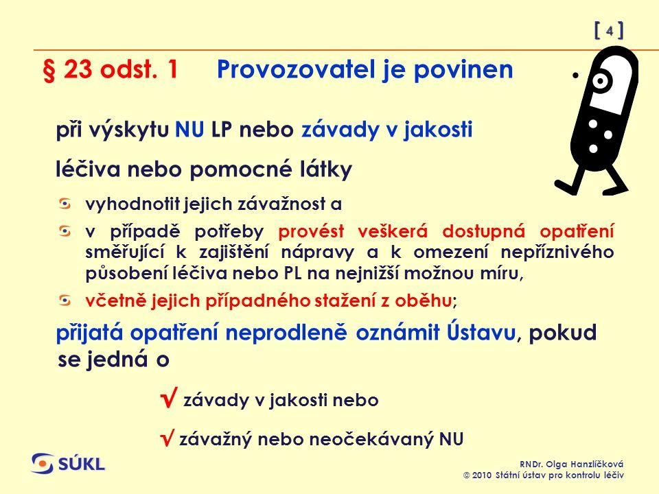 [ 4 ] RNDr. Olga Hanzlíčková © 2010 Státní ústav pro kontrolu léčiv § 23 odst.