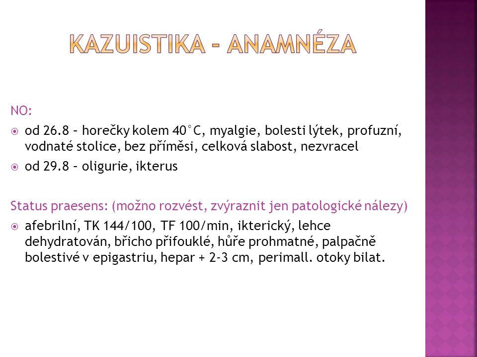 NO:  od 26.8 – horečky kolem 40°C, myalgie, bolesti lýtek, profuzní, vodnaté stolice, bez příměsi, celková slabost, nezvracel  od 29.8 – oligurie, ikterus Status praesens: (možno rozvést, zvýraznit jen patologické nálezy)  afebrilní, TK 144/100, TF 100/min, ikterický, lehce dehydratován, břicho přifouklé, hůře prohmatné, palpačně bolestivé v epigastriu, hepar + 2-3 cm, perimall.