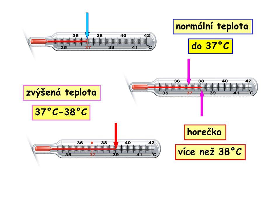 horečka zvýšená teplota do 37°C 37°C-38°C normální teplota více než 38°C