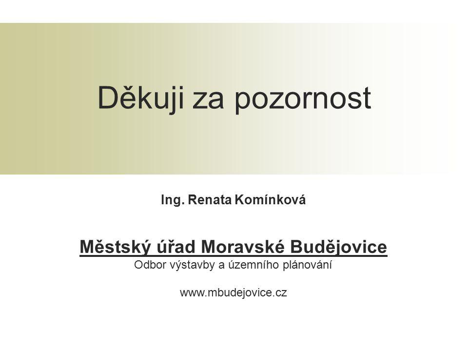Ing. Renata Komínková Městský úřad Moravské Budějovice Odbor výstavby a územního plánování www.mbudejovice.cz Děkuji za pozornost
