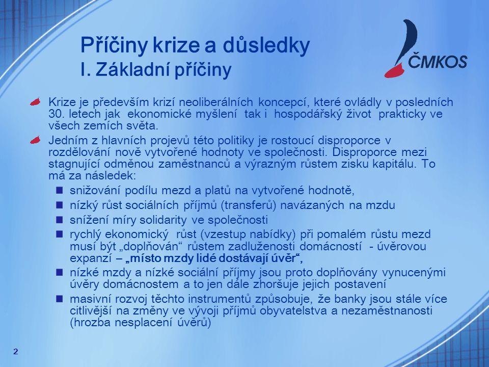 13 Protikrizová opatření - ČMKOS Lépe koordinovat hospodářskou a měnovou politiku.