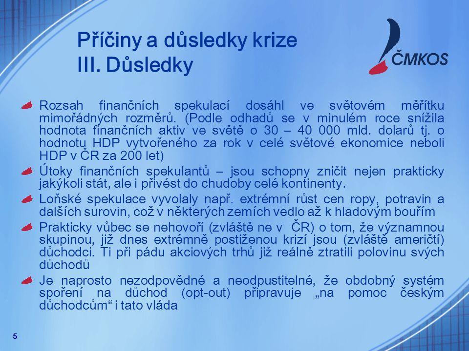 16 Protikrizová opatření - ČMKOS Vyčlenit v roce 2009 minimálně dvě procenta HDP na řešení důsledků krize a podporu hospodářského růstu.