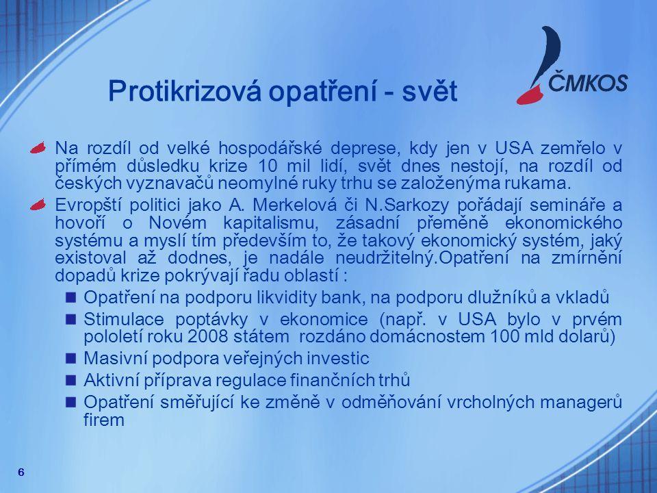 """7 """"Protikrizová opatření – vláda ČR Česká vláda dlouhou dobu popírala jakoukoli krizi."""