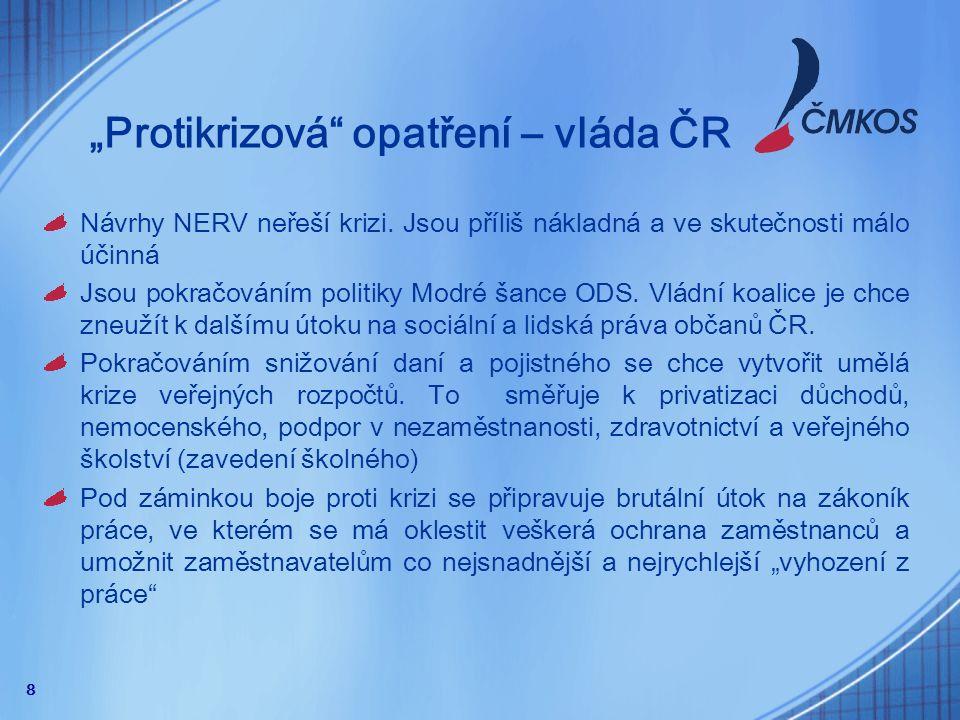 """9 """"Protikrizová opatření – Vláda ČR Hlavní opatření vládního """"antikrizového balíčku je další snižování pojistného na sociální pojištění."""