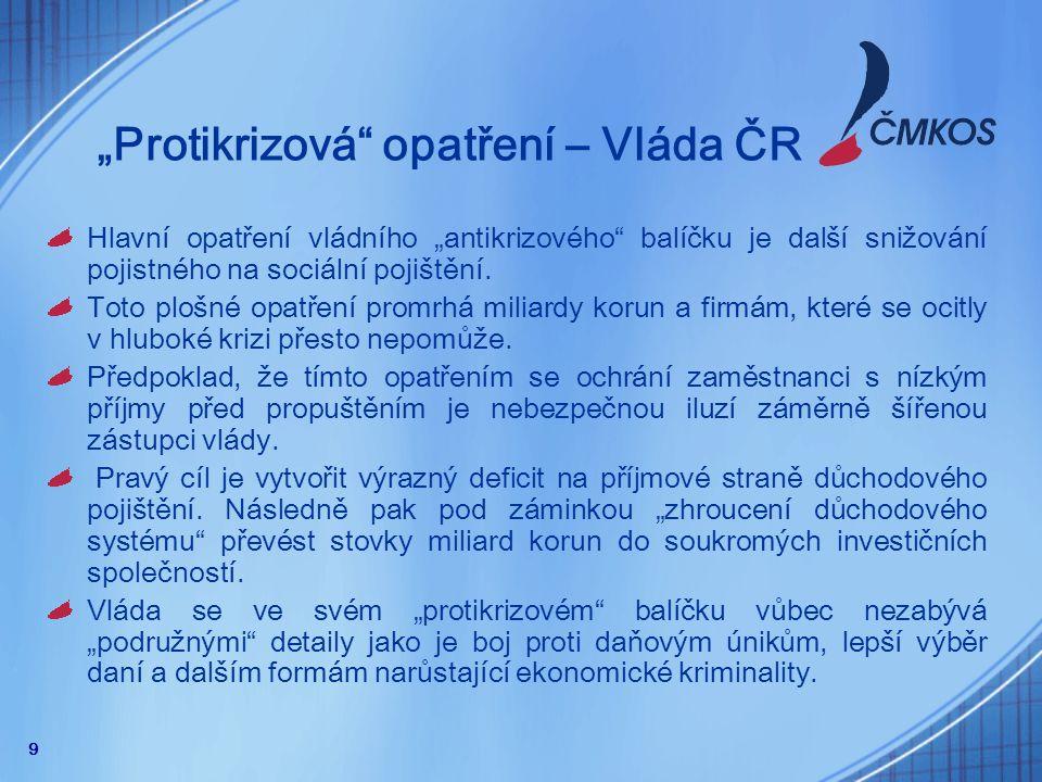 """10 """"Protikrizová opatření – vláda ČR Vláda ve svých opatřeních nemá žádná opatření ve prospěch """"normálních občanů."""
