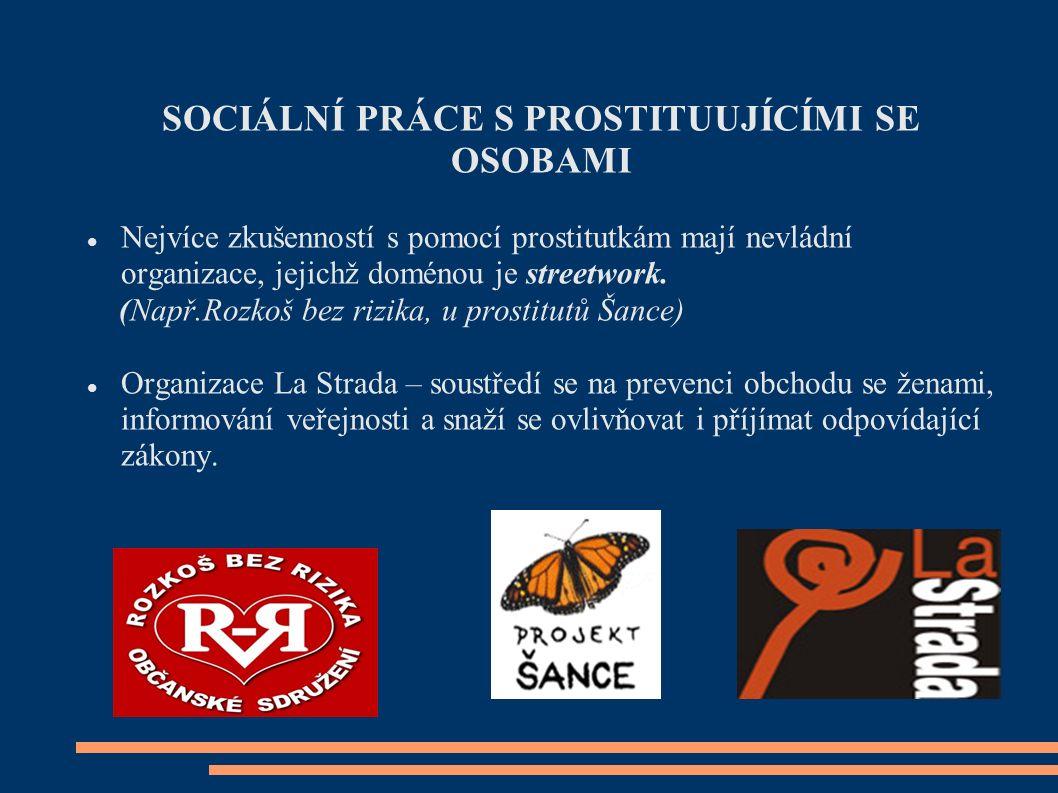 STRATEGIE SOCIÁLNÍ PRÁCE a) Zmírňování škod - prevence sexuálně přenosných chorob - prevence kriminality - zprostředkování léčby závislostí - prevence sociálního vyloučení - pomoc klientkám při založení vlastní rodiny b) Resocializace – spojena s prevencí návratu k prostituci - zajištění kvalitního poradenství a kontaktu na organizace, které se mohou na resocializaci klienta podílet - resocializace přináší klientům finanční problémy a problémy s bydlením – úspěšná resocializace závisí na tom, zda sociální pracovník dokáže těmto klientům pomoci při hledání zaměstnání a vhodného bydlení.