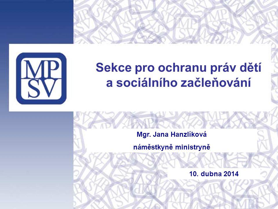 Mgr. Jana Hanzlíková náměstkyně ministryně Sekce pro ochranu práv dětí a sociálního začleňování 10.