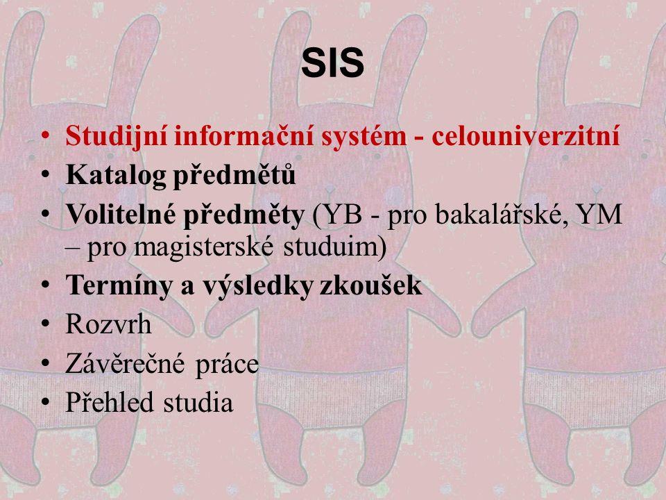 SIS Studijní informační systém - celouniverzitní Katalog předmětů Volitelné předměty (YB - pro bakalářské, YM – pro magisterské studuim) Termíny a výs