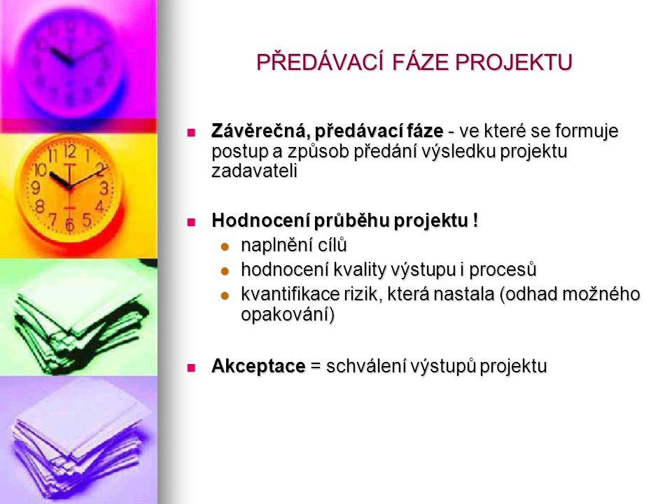 PŘEDÁVACÍ FÁZE PROJEKTU Závěrečná, předávací fáze - ve které se formuje postup a způsob předání výsledku projektu zadavateli Závěrečná, předávací fáze