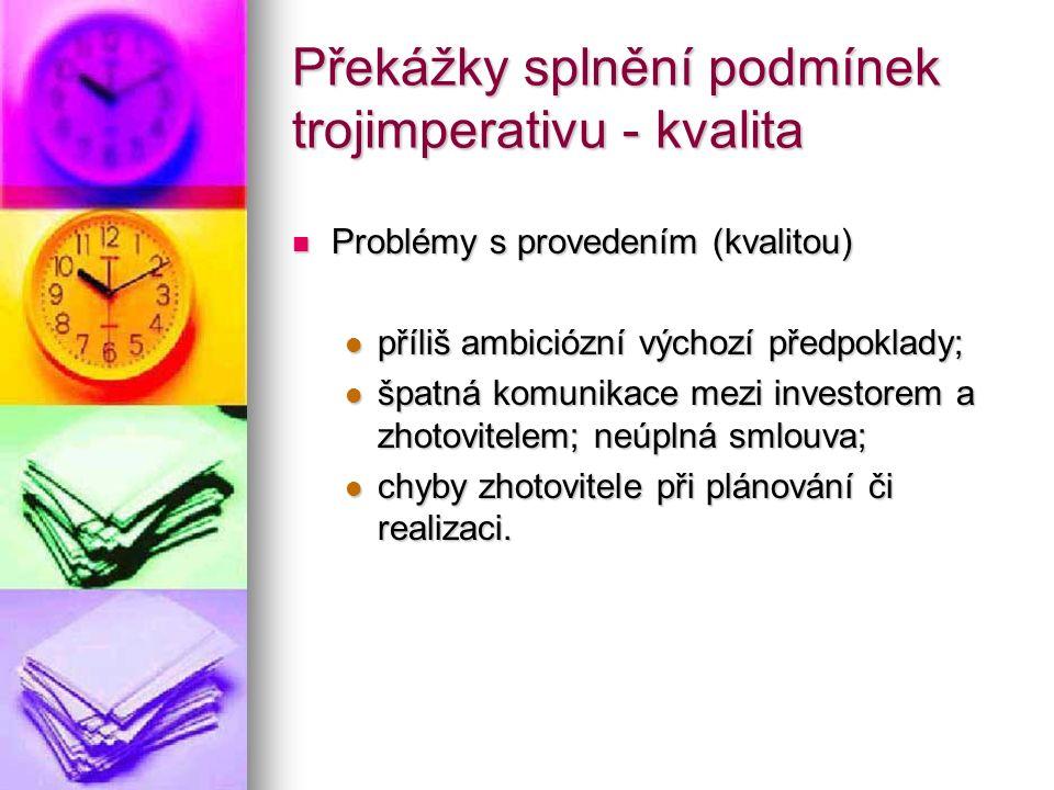 Překážky splnění podmínek trojimperativu - kvalita Problémy s provedením (kvalitou) Problémy s provedením (kvalitou) příliš ambiciózní výchozí předpok