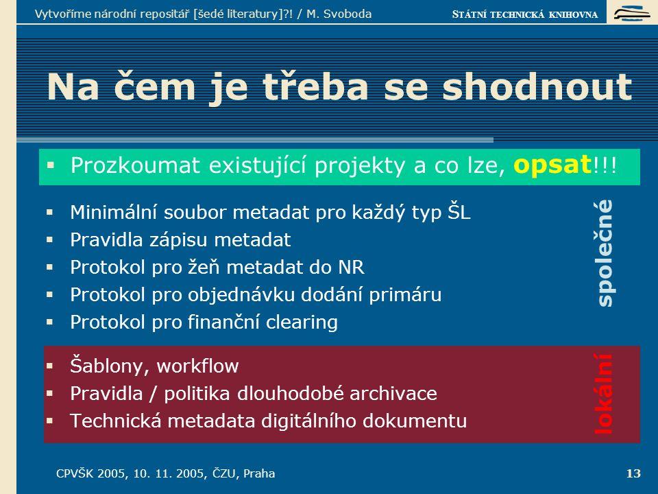 S TÁTNÍ TECHNICKÁ KNIHOVNA CPVŠK 2005, 10. 11. 2005, ČZU, Praha Vytvoříme národní repositář [šedé literatury]?! / M. Svoboda 13 lokální Na čem je třeb