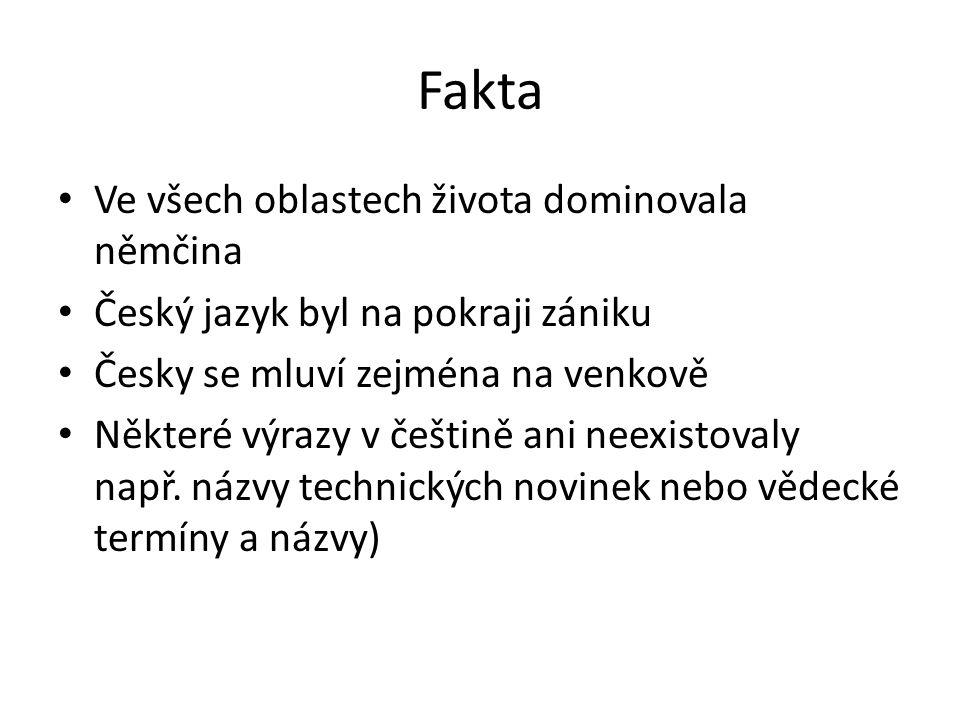 Fakta Ve všech oblastech života dominovala němčina Český jazyk byl na pokraji zániku Česky se mluví zejména na venkově Některé výrazy v češtině ani neexistovaly např.