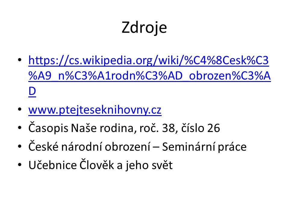 Zdroje https://cs.wikipedia.org/wiki/%C4%8Cesk%C3 %A9_n%C3%A1rodn%C3%AD_obrozen%C3%A D https://cs.wikipedia.org/wiki/%C4%8Cesk%C3 %A9_n%C3%A1rodn%C3%AD_obrozen%C3%A D www.ptejteseknihovny.cz Časopis Naše rodina, roč.