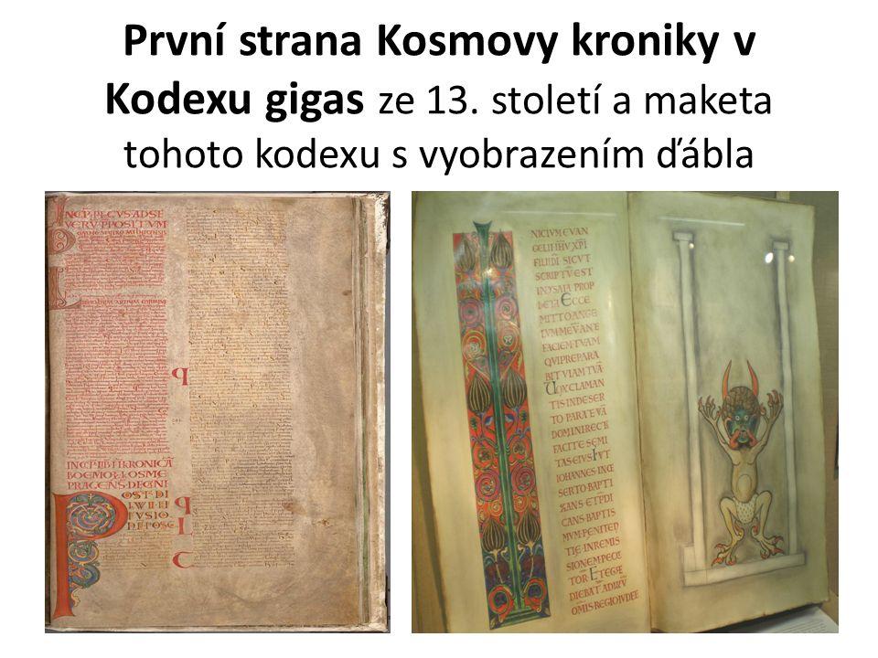První strana Kosmovy kroniky v Kodexu gigas ze 13. století a maketa tohoto kodexu s vyobrazením ďábla