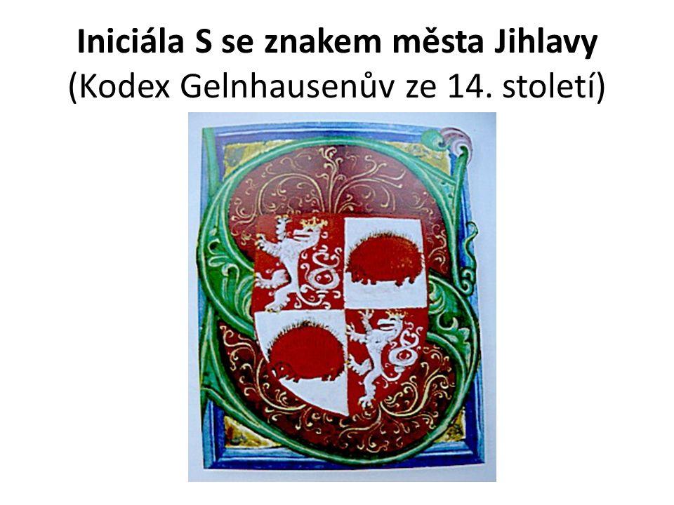 Iniciála S se znakem města Jihlavy (Kodex Gelnhausenův ze 14. století)