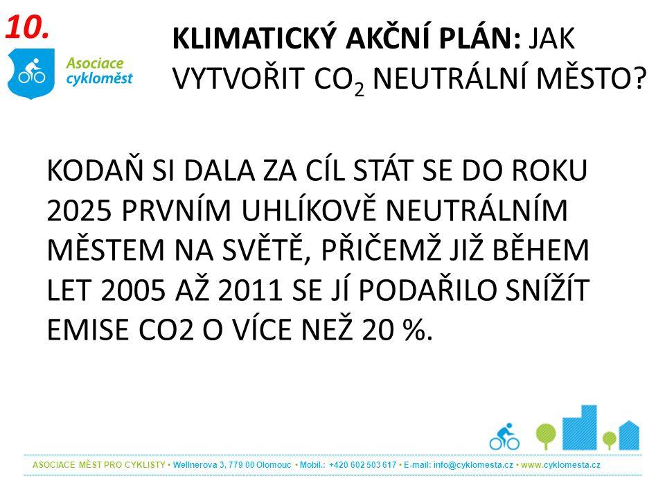 ASOCIACE MĚST PRO CYKLISTY Wellnerova 3, 779 00 Olomouc Mobil.: +420 602 503 617 E-mail: info@cyklomesta.cz www.cyklomesta.cz KODAŇ SI DALA ZA CÍL STÁT SE DO ROKU 2025 PRVNÍM UHLÍKOVĚ NEUTRÁLNÍM MĚSTEM NA SVĚTĚ, PŘIČEMŽ JIŽ BĚHEM LET 2005 AŽ 2011 SE JÍ PODAŘILO SNÍŽÍT EMISE CO2 O VÍCE NEŽ 20 %.