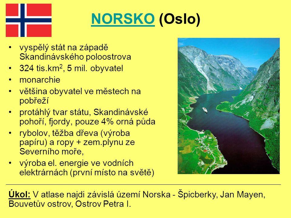 NORSKONORSKO (Oslo) vyspělý stát na západě Skandinávského poloostrova 324 tis.km 2, 5 mil.