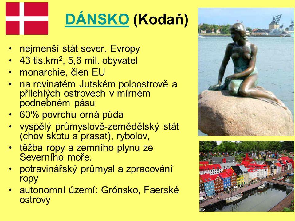 DÁNSKODÁNSKO (Kodaň) nejmenší stát sever. Evropy 43 tis.km 2, 5,6 mil.
