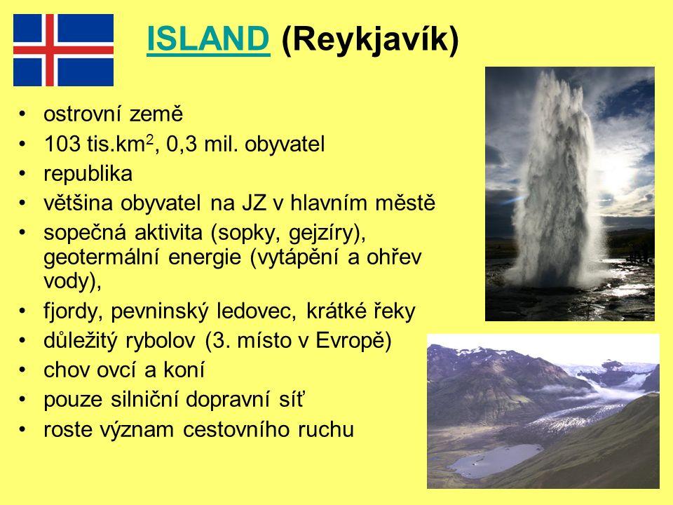 ISLANDISLAND (Reykjavík) ostrovní země 103 tis.km 2, 0,3 mil.
