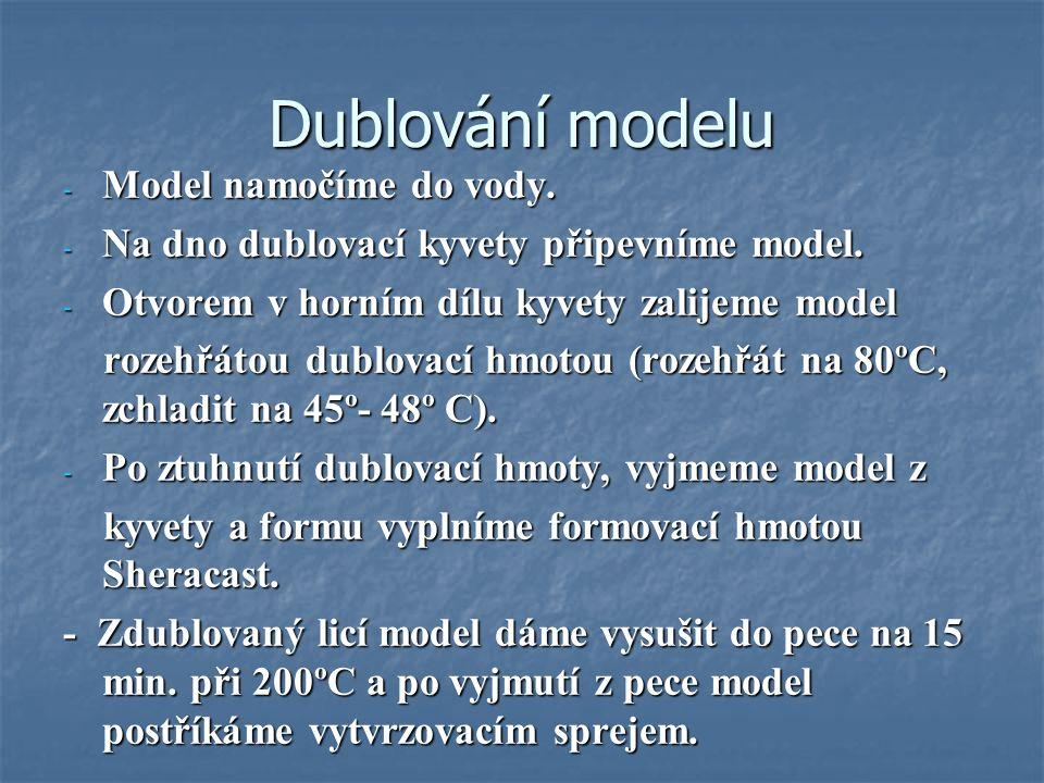 Dublování modelu - Model namočíme do vody. - Na dno dublovací kyvety připevníme model.
