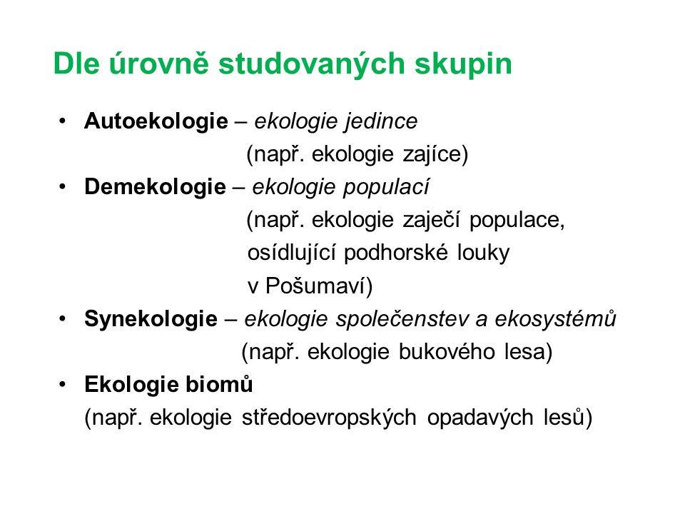 Dle úrovně studovaných skupin Autoekologie – ekologie jedince (např.