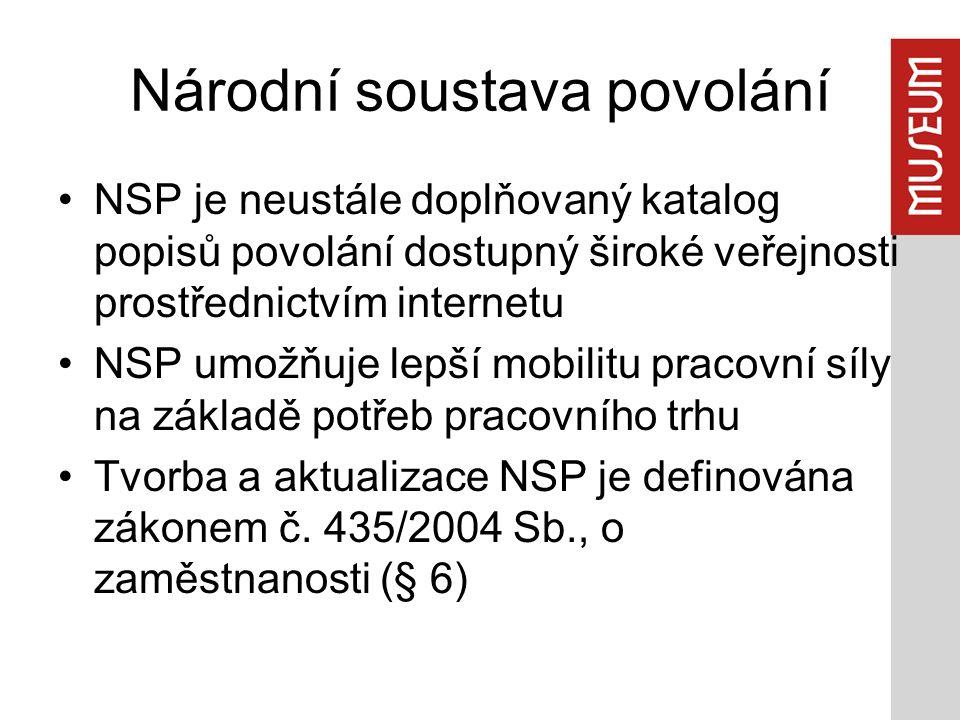 Národní soustava povolání NSP je neustále doplňovaný katalog popisů povolání dostupný široké veřejnosti prostřednictvím internetu NSP umožňuje lepší mobilitu pracovní síly na základě potřeb pracovního trhu Tvorba a aktualizace NSP je definována zákonem č.