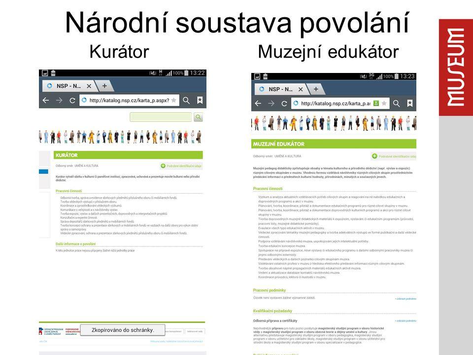 Národní soustava povolání Kurátor Muzejní edukátor