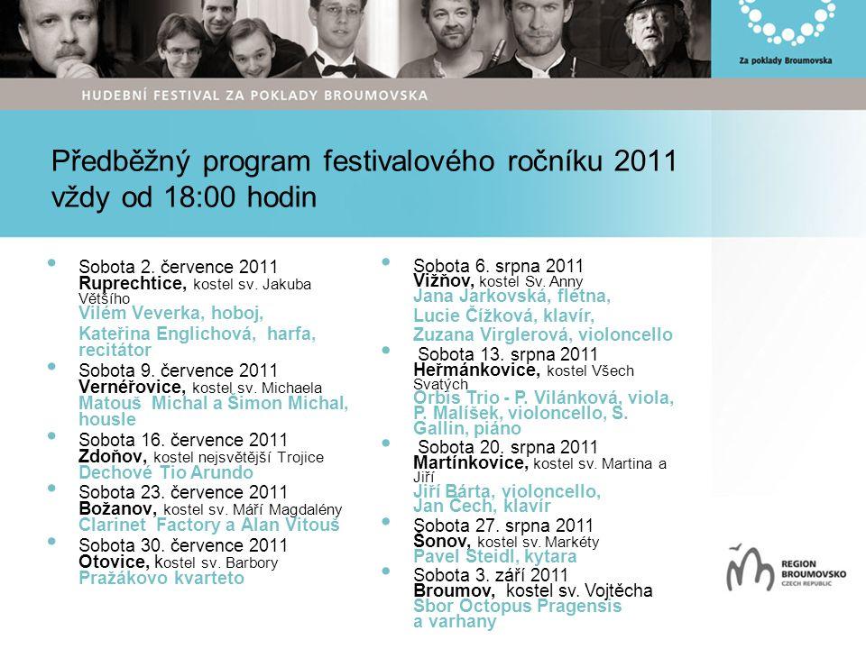 Předběžný program festivalového ročníku 2011 vždy od 18:00 hodin Sobota 2.
