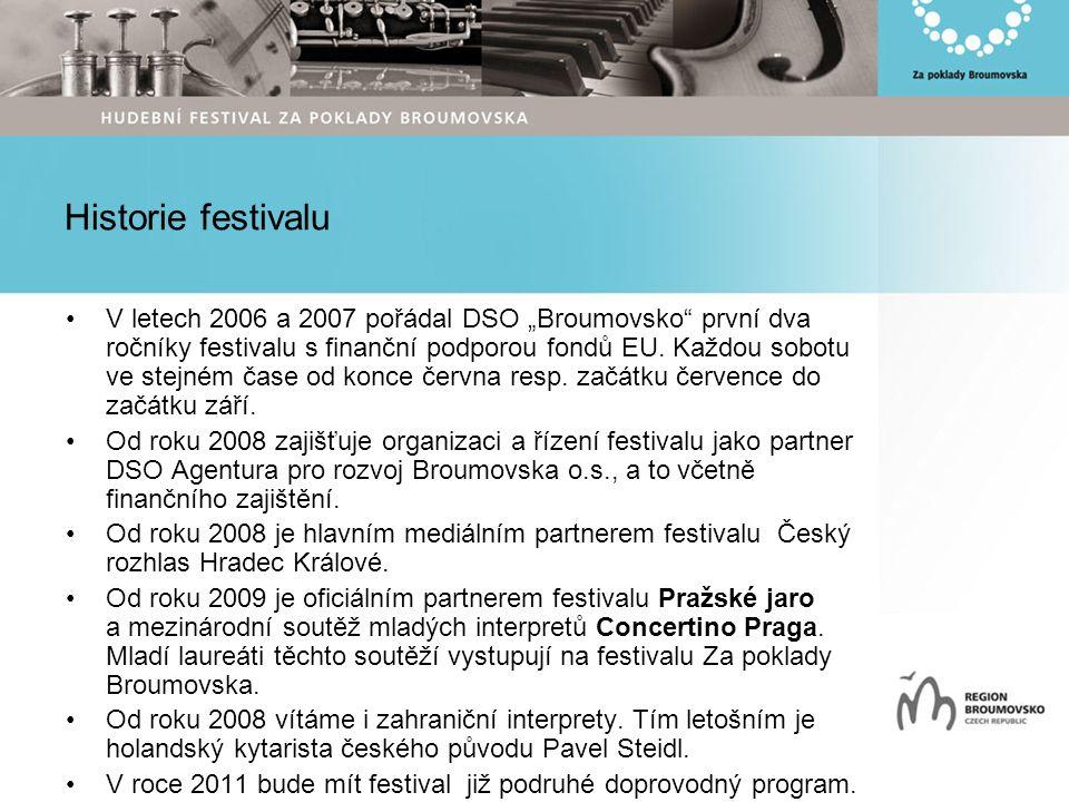 """Historie festivalu V letech 2006 a 2007 pořádal DSO """"Broumovsko první dva ročníky festivalu s finanční podporou fondů EU."""