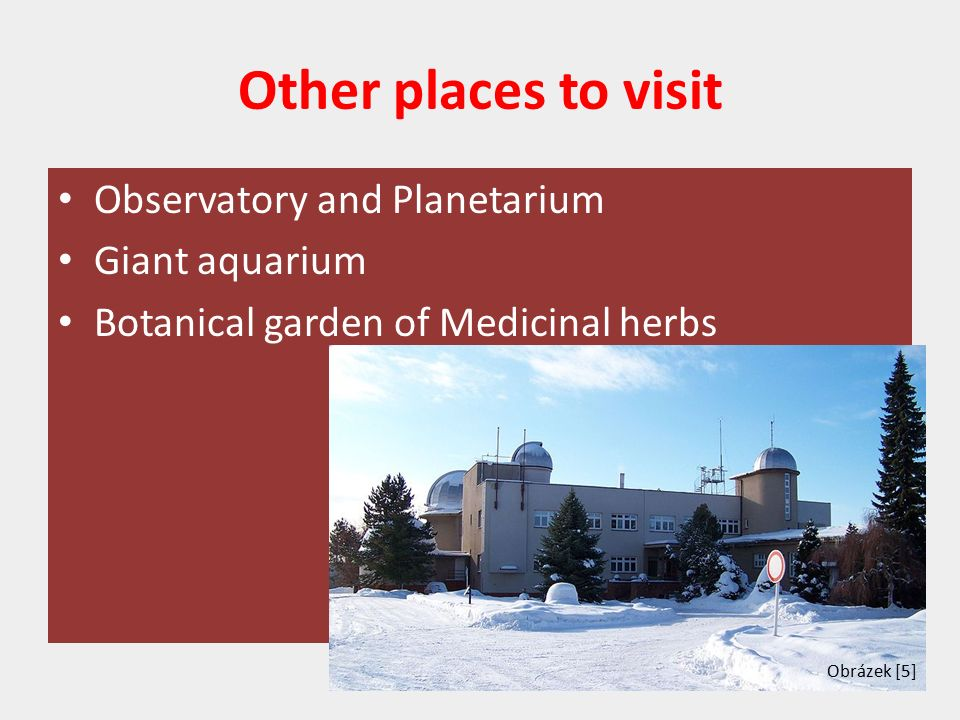 Other places to visit Observatory and Planetarium Giant aquarium Botanical garden of Medicinal herbs Obrázek [5]