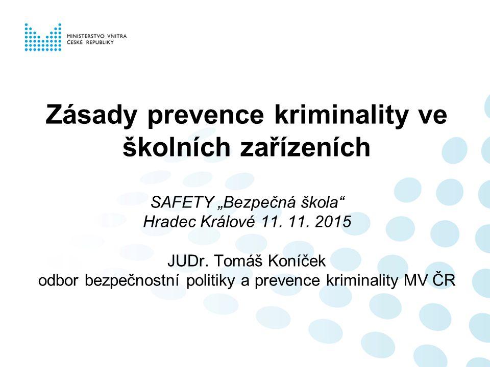 """Zásady prevence kriminality ve školních zařízeních SAFETY """"Bezpečná škola Hradec Králové 11."""