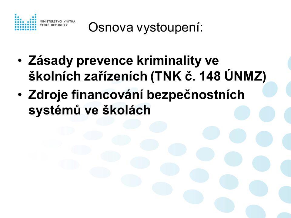 Osnova vystoupení: Zásady prevence kriminality ve školních zařízeních (TNK č. 148 ÚNMZ) Zdroje financování bezpečnostních systémů ve školách