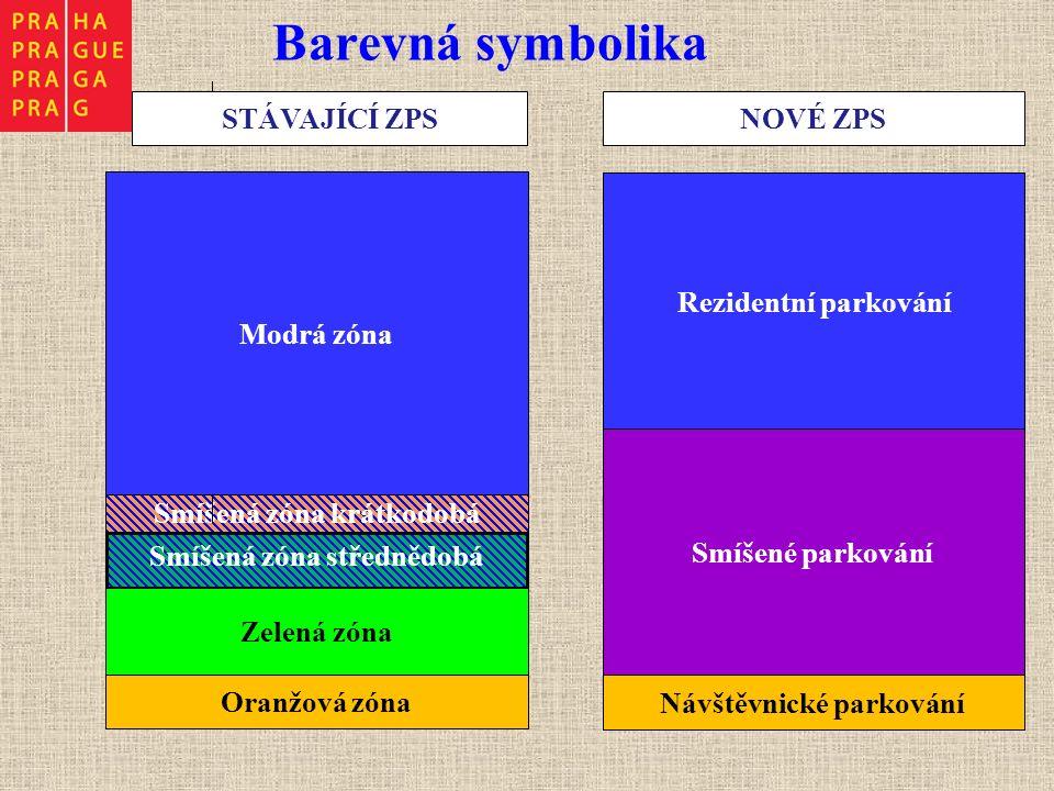 Barevná symbolika Smíšená zóna krátkodobá STÁVAJÍCÍ ZPS Modrá zóna Smíšená zóna střednědobá Oranžová zóna Zelená zóna NOVÉ ZPS Rezidentní parkování Smíšené parkování Návštěvnické parkování