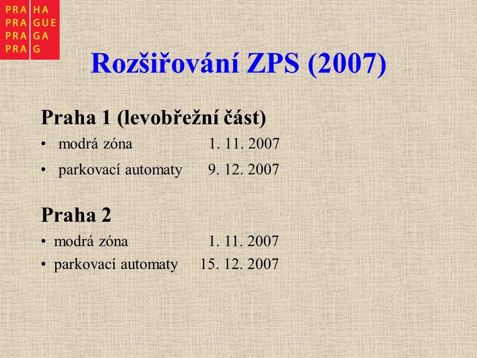 Rozšiřování ZPS (2007) Praha 1 (levobřežní část) modrá zóna 1. 11. 2007 parkovací automaty 9. 12. 2007 Praha 2 modrá zóna 1. 11. 2007 parkovací automa