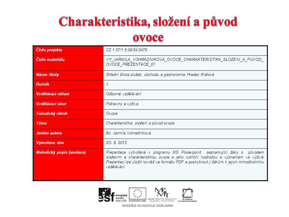 Číslo projektuCZ.1.07/1.5.00/34.0479 Číslo materiáluVY_JARMILA_VOHRADNIKOVA_OVOCE_CHARAKTERISTIKA_SLOZENI_A_PUVOD_ OVOCE_PREZENTACE_01 Název školyStřední škola služeb, obchodu a gastronomie Hradec Králové Ročník1.