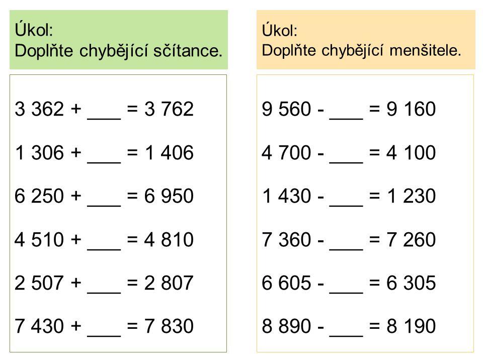 Úkol: Doplňte chybějící sčítance. Úkol: Doplňte chybějící menšitele. 9 560 - ___ = 9 160 4 700 - ___ = 4 100 1 430 - ___ = 1 230 7 360 - ___ = 7 260 6