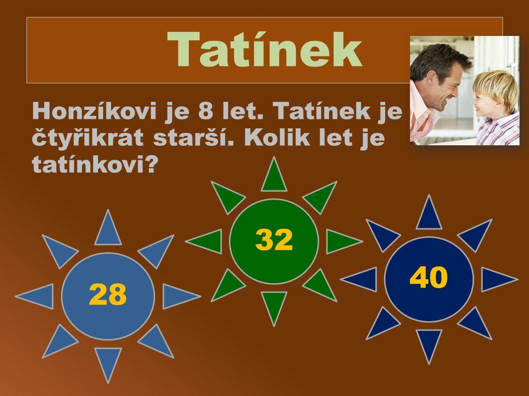 Tatínek Honzíkovi je 8 let. Tatínek je čtyřikrát starší. Kolik let je tatínkovi? 28 32 40