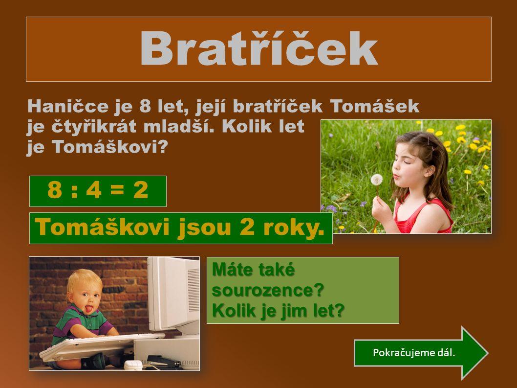 Bratříček Haničce je 8 let, její bratříček Tomášek je čtyřikrát mladší.