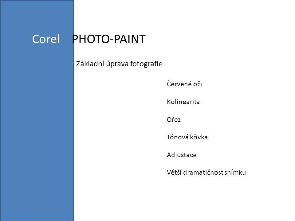 Corel PHOTO-PAINT nabízí sadu nástrojů pro vytváření důmyslných grafických objektů určených k vytištění a zobrazení online Před započetím práce si nastavíme nástroje a paletky pomocí volby OKNO>PANELY NÁSTROJŮ, UKOTVITELNÉ PANELY, BAREVNÉ PALETY