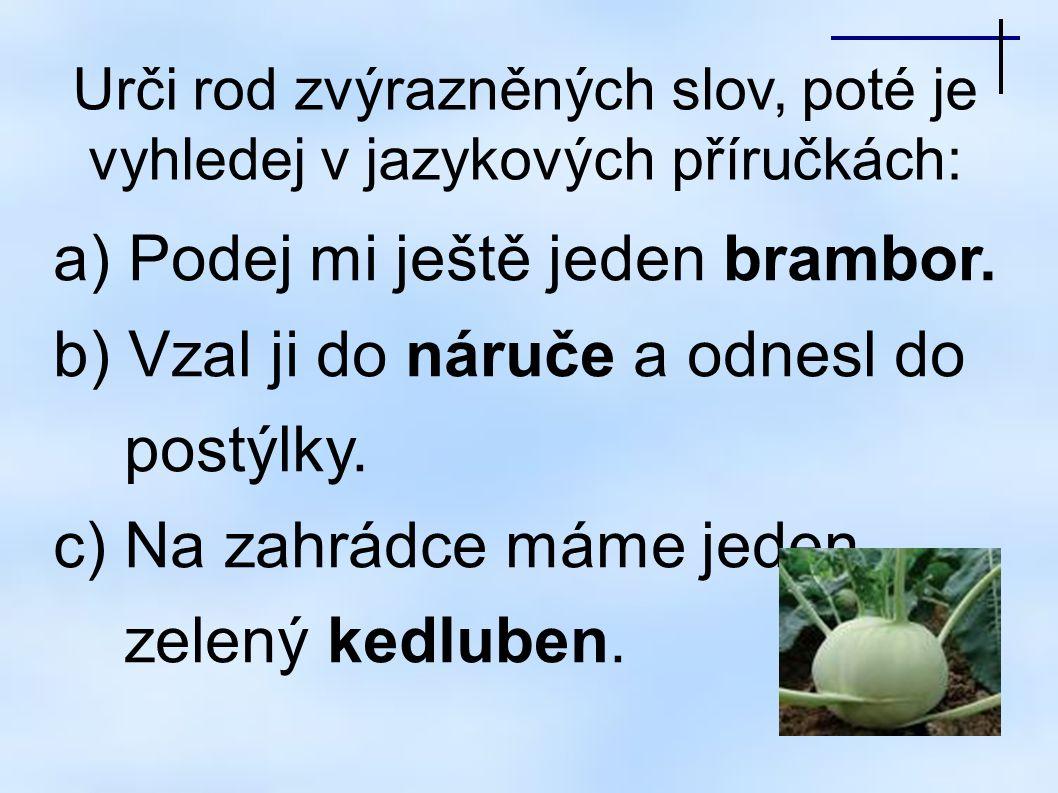 Urči rod zvýrazněných slov, poté je vyhledej v jazykových příručkách: a) Podej mi ještě jeden brambor.