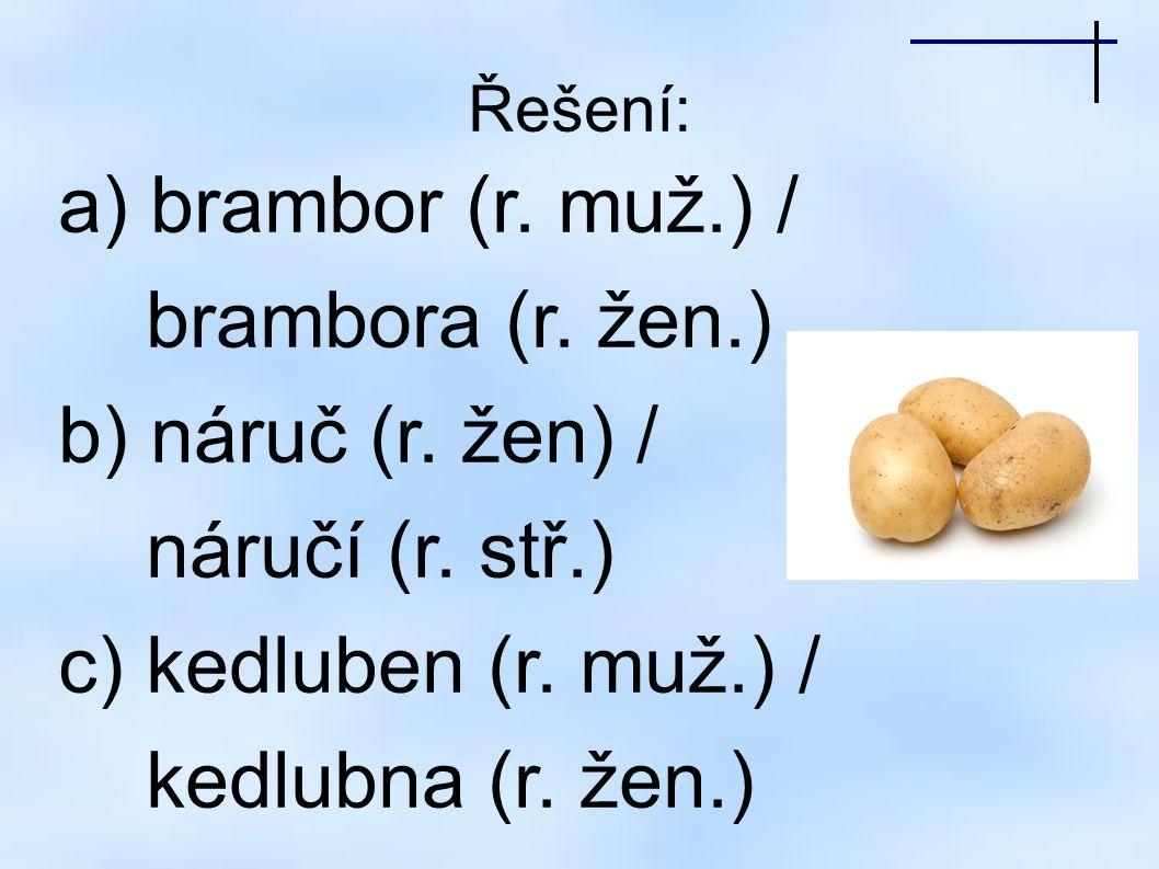 Řešení: a) brambor (r.muž.) / brambora (r. žen.) b) náruč (r.