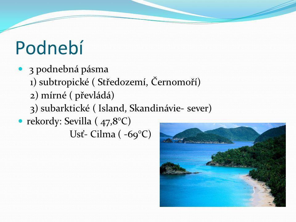 Podnebí 3 podnebná pásma 1) subtropické ( Středozemí, Černomoří) 2) mírné ( převládá) 3) subarktické ( Island, Skandinávie- sever) rekordy: Sevilla (