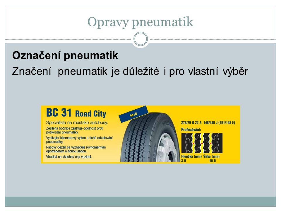 Opravy pneumatik Označení pneumatik Značení pneumatik je důležité i pro vlastní výběr