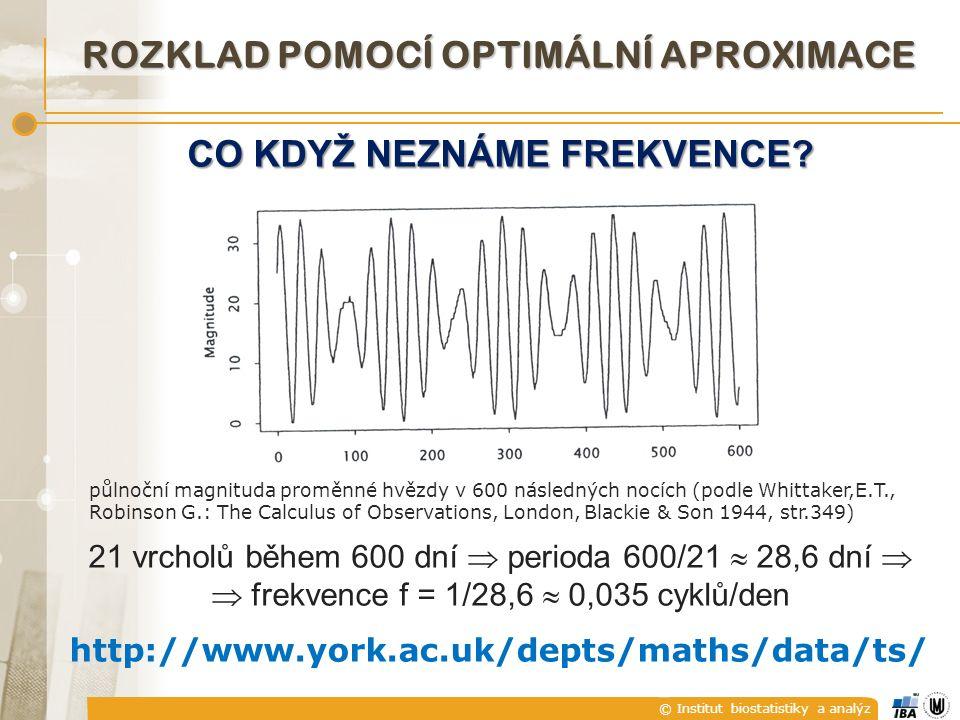 © Institut biostatistiky a analýz CO KDYŽ NEZNÁME FREKVENCE.