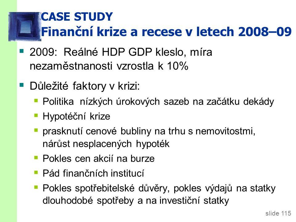 slide 115 CASE STUDY Finanční krize a recese v letech 2008–09  2009: Reálné HDP GDP kleslo, míra nezaměstnanosti vzrostla k 10%  Důležité faktory v krizi:  Politika nízkých úrokových sazeb na začátku dekády  Hypotéční krize  prasknutí cenové bubliny na trhu s nemovitostmi, nárůst nesplacených hypoték  Pokles cen akcií na burze  Pád finančních institucí  Pokles spotřebitelské důvěry, pokles výdajů na statky dlouhodobé spotřeby a na investiční statky