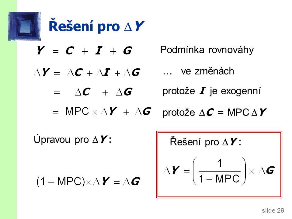 slide 29 Řešení pro  Y Podmínka rovnováhy … ve změnách protože I je exogenní protože  C = MPC  Y Úpravou pro  Y : Řešení pro  Y :